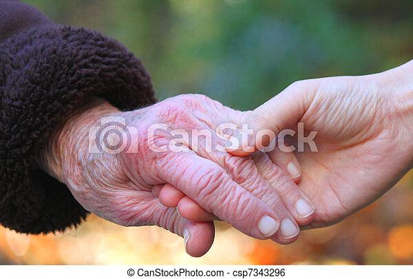Holding seniors hand - csp7343296