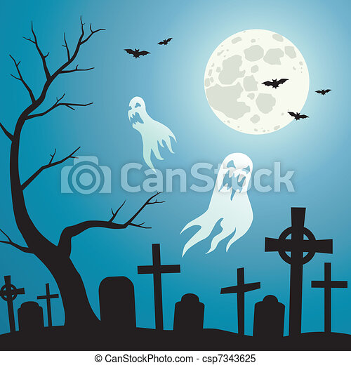 Cemetery and Ghosts - csp7343625