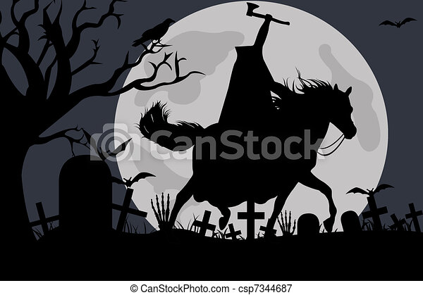 Stock Illustration - Illustration Of A Headless Horseman - stock ...