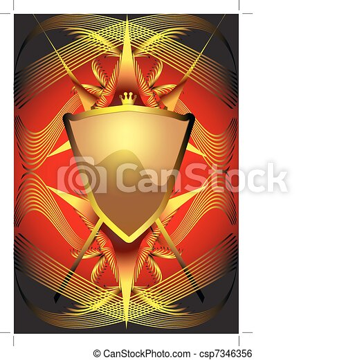 background with shield and weapon - csp7346356