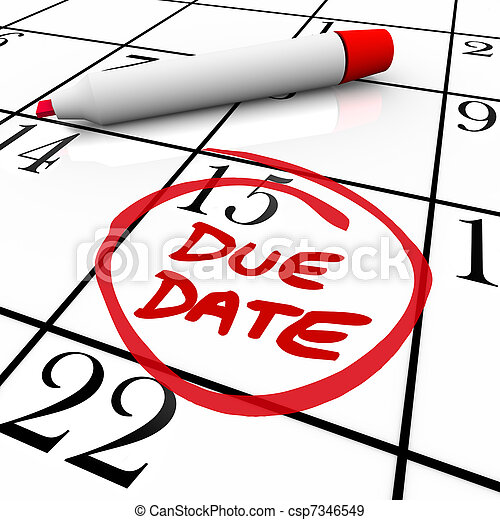 Due Date Calendar Circled for Pregnancy or Project Completion - csp7346549