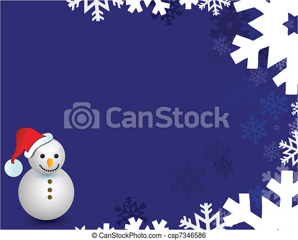 snowman and snow flakes  - csp7346586