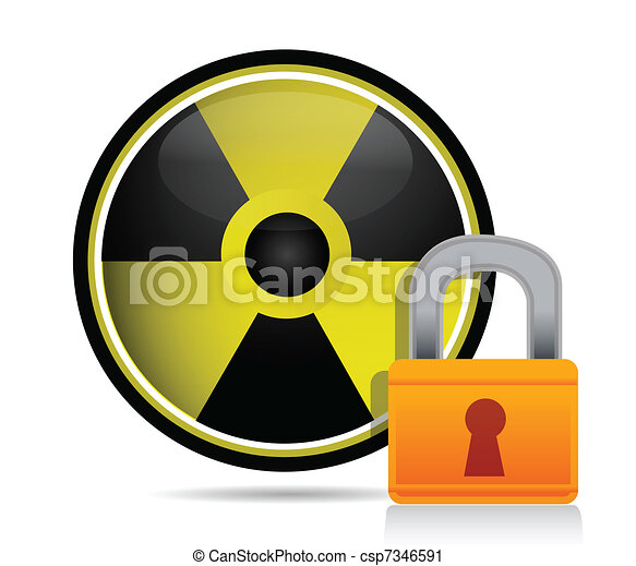 radioactive sign behind a lock - csp7346591