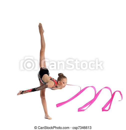 teenager doing gymnastics split with ribbon - csp7346613