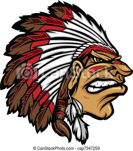 Indian Chief Mascot Head Cartoon Ve - csp7347259