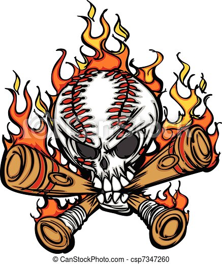 Softball Baseball Skull and Bats Fl - csp7347260
