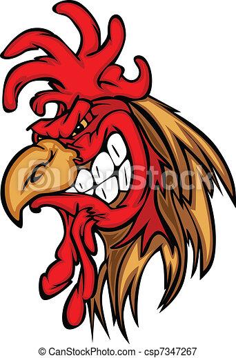 Rooster or Gamecock Mascot Cartoon - csp7347267