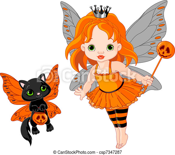 Cute Halloween baby fairy and cat - csp7347287
