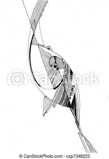 unusual abstract pencil drawing fish  - csp7348223