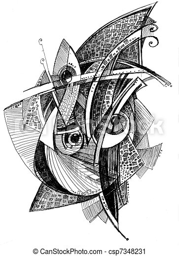 abstract unusual pencil drawing - csp7348231
