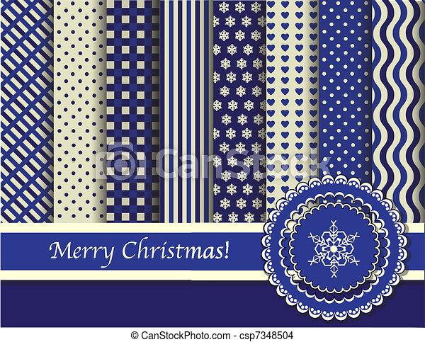Christmas scrapbooking blue and cream - csp7348504