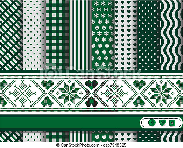 Christmas scrapbooking green - csp7348525