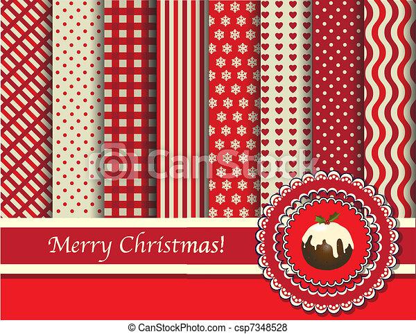 scrapbooking, navidad, rojo, crema - csp7348528