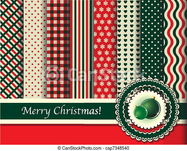 Christmas scrapbooking red and green vintage colours - csp7348540