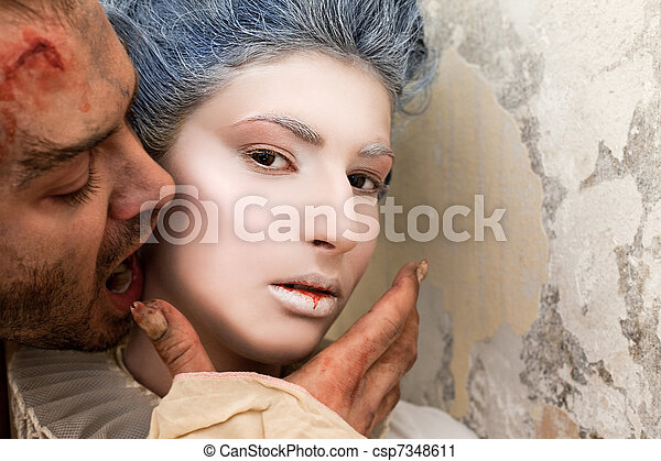 Vampire biting woman's neck - csp7348611