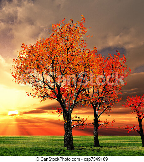 stock illustration of autumn scenery csp7349169 search