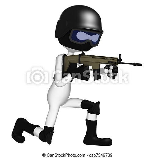 3d Soldier aiming assault gun - csp7349739