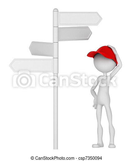 3d Man standing under signpost in a thoughtful pose. - csp7350094