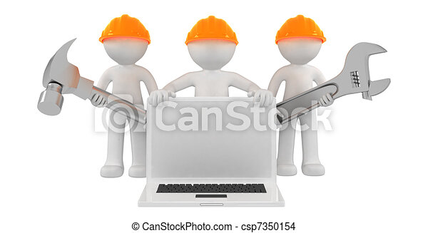 Builders with laptop and tools - csp7350154