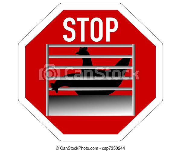 Stop sign caging of hen - csp7350244