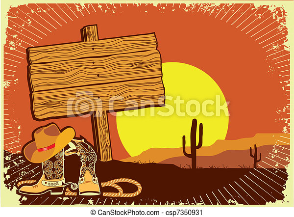 Cowboy's landscape .Grunge wild western background of sunset - csp7350931
