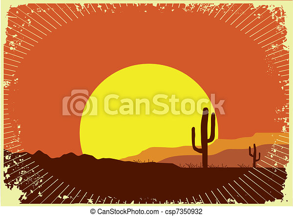 Grunge wild western background of sunset.Desert landscape with sun - csp7350932