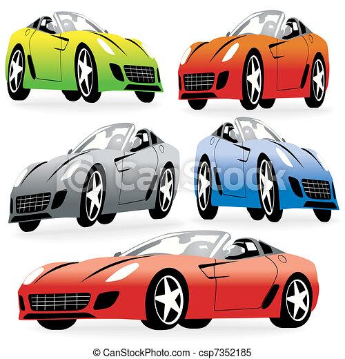 vecteur voitures style ensemble courses dessin anim