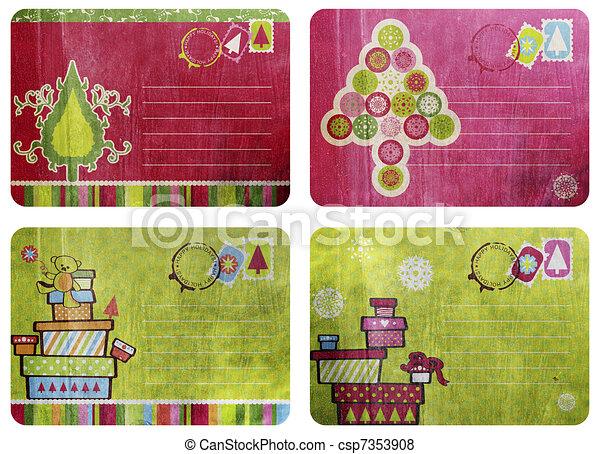 vintage fun christmas cards - csp7353908