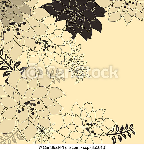 Stylish floral beige background with contour flowers - csp7355018