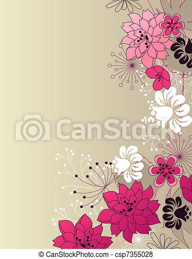 Stylish floral light pink background - csp7355028