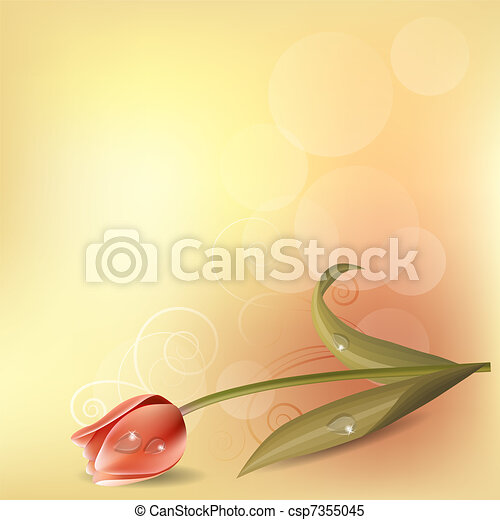 Light pastel background with pink tulip - csp7355045