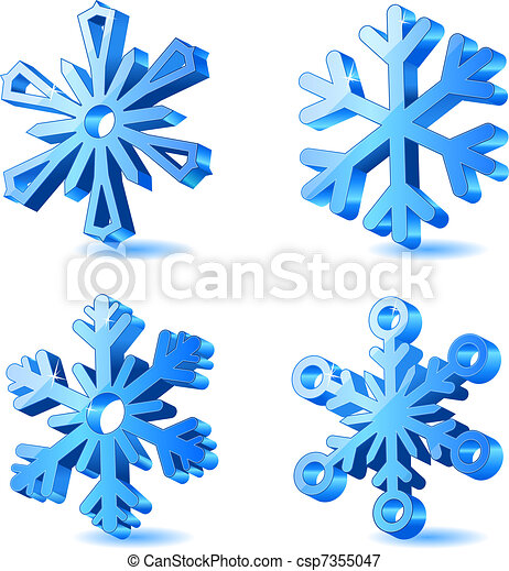 Vector christmas 3d snowflake icons - csp7355047