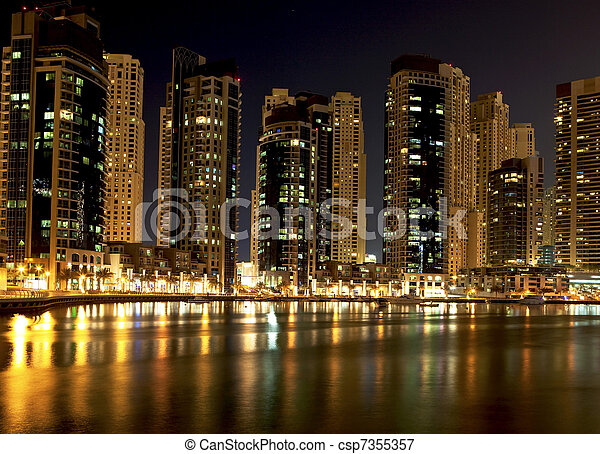 Night city. Panoramic view. Dubai  - csp7355357