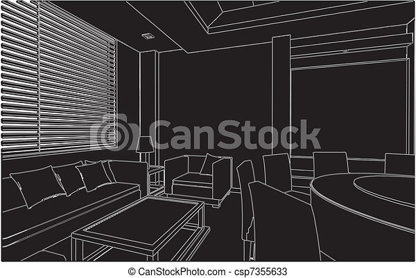 Modern Living And Dining Room - csp7355633