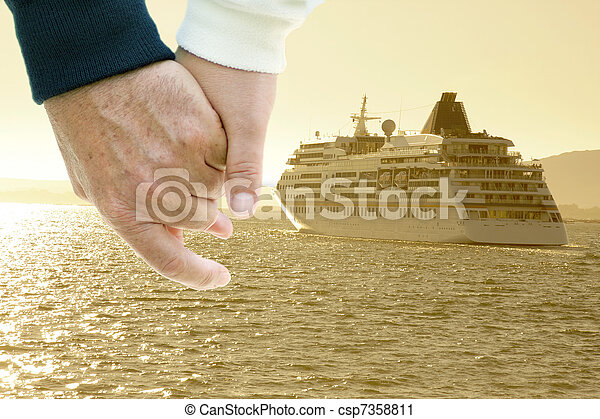 cruise ship by sea, travel and transportation - csp7358811