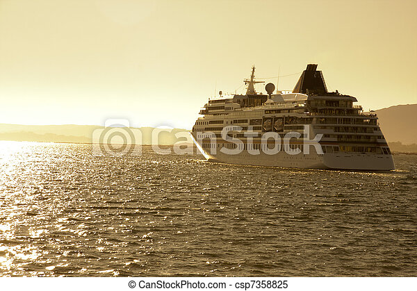 cruise ship by sea, travel and transportation - csp7358825