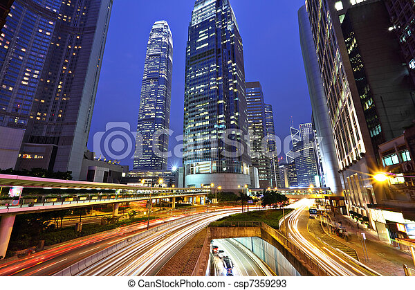 Hong Kong business district at night - csp7359293