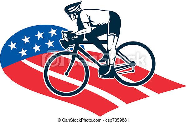 Cyclist riding racing ...