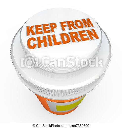 Keep From Children Medicine Child-Proof Bottle Cap Warning - csp7359890