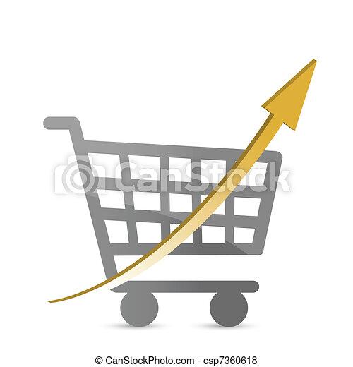 shopping cart with an arrow  - csp7360618