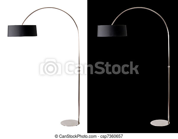 Contemporary metallic and black floor lamp on white and black backgrounds. Clipping path included for both, so you can easily cut it out and place over the top of a design. - csp7360657