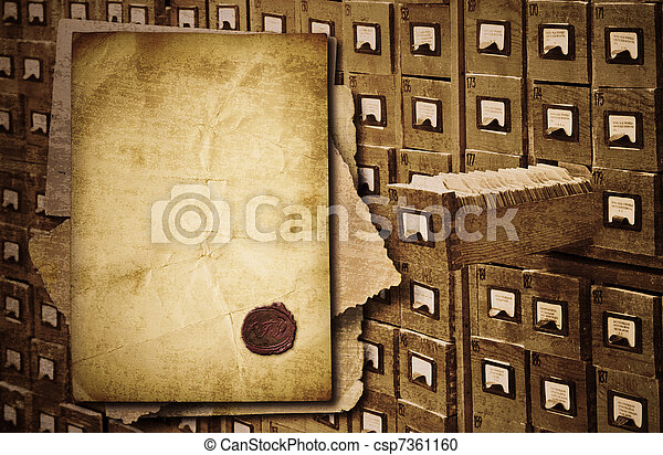 Old documents heap over archive cabinet  background - csp7361160