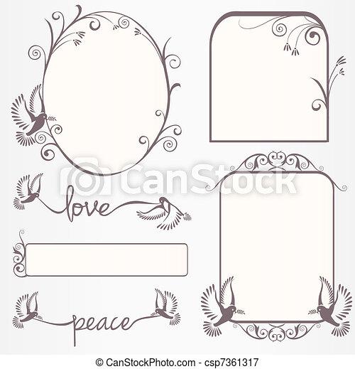 Ornate vintage frame set  with dove - csp7361317