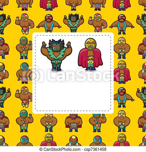 cartoon wrestler card - csp7361458