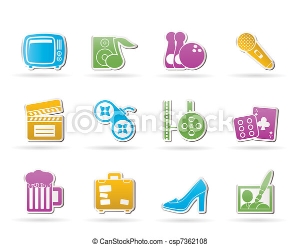 Leisure activity and objects icons  - csp7362108