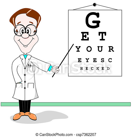Optician eye test cartoon - csp7362207