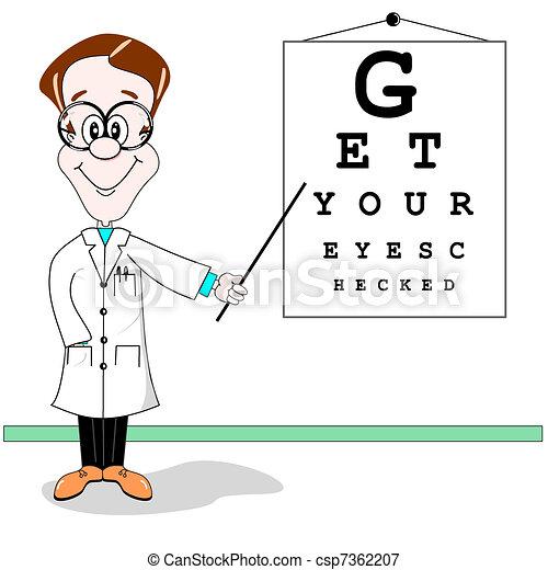 Optician eye test cartoon - csp7362207