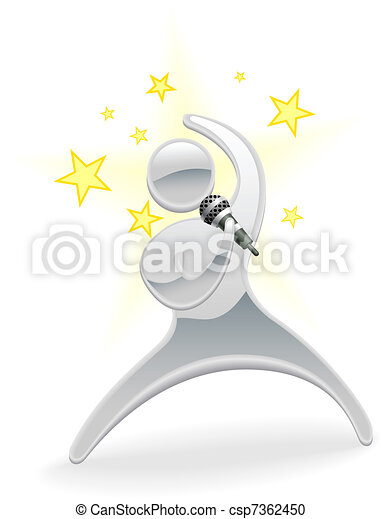 Metallic cartoon character pop star singer - csp7362450