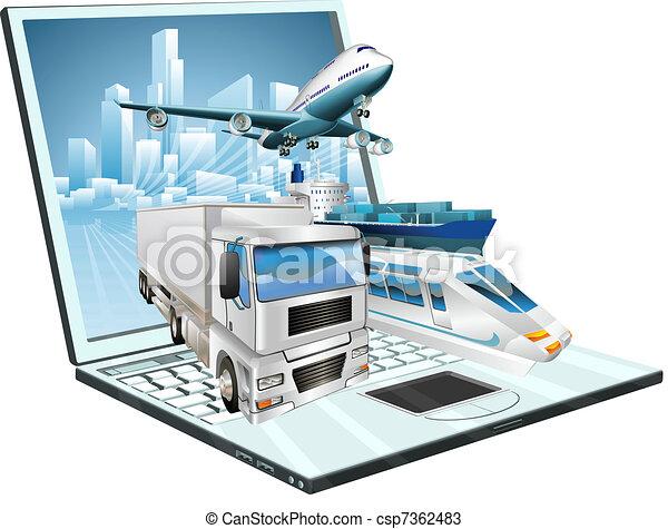 Logistics laptop computer concept - csp7362483