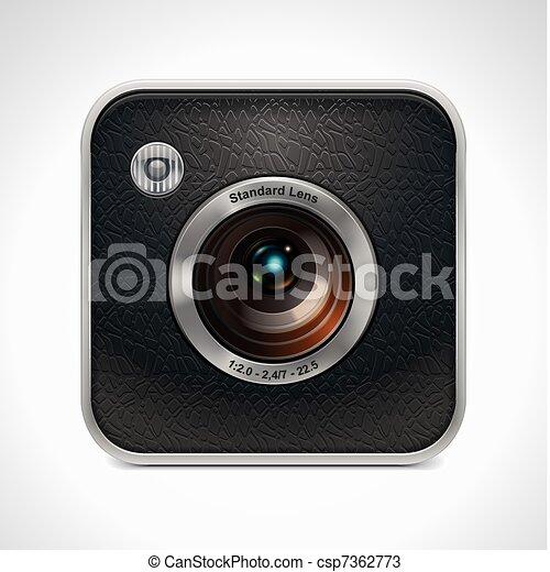 Vector square retro camera icon - csp7362773